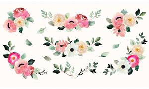 水彩风格绿叶装饰花朵矢量素材集V01