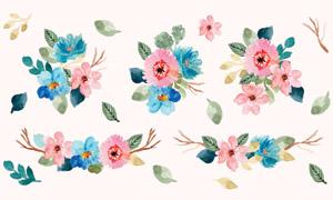 水彩风格绿叶装饰花朵矢量素材集V03