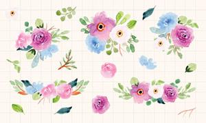 水彩风格绿叶装饰花朵矢量素材集V04