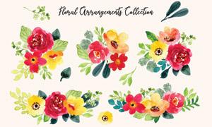 水彩风格绿叶装饰花朵矢量素材集V05