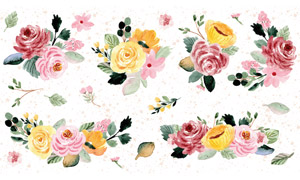 水彩风格绿叶装饰花朵矢量素材集V06