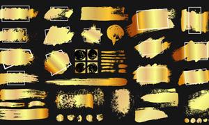 边框与金色的墨迹笔触元素矢量素材