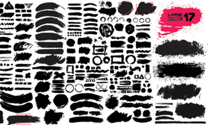 黑白墨迹笔触元素创意矢量素材V06