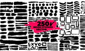 黑白墨迹笔触元素创意矢量素材V07