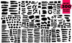 黑白墨迹笔触元素创意矢量素材V09