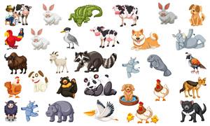 鱷魚奶牛與母雞等動物主題矢量素材