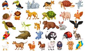 烏龜袋鼠與母雞等動物主題矢量素材
