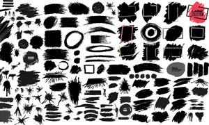 黑白墨迹笔触元素创意矢量素材V13