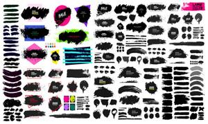 黑白墨迹笔触元素创意矢量素材V15