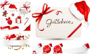 丝带礼物盒与圣诞帽等圣诞矢量素材