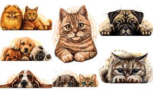 水彩质感效果可爱猫狗主题矢量素材
