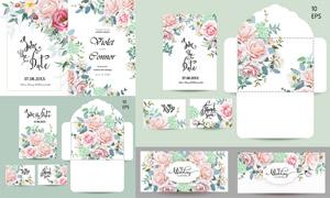 花朵图案装饰婚庆请柬设计矢量素材