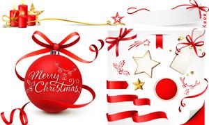 圣诞球蜡烛与飘带等圣诞节矢量素材