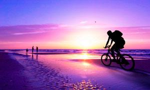 夕阳下在海边骑行景观摄影图片