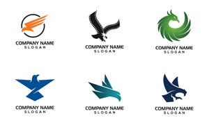 老鹰与凤凰图案等标志创意矢量素材