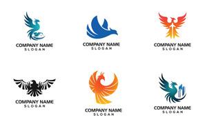 鳳凰與飛鳥等圖案標志設計矢量素材