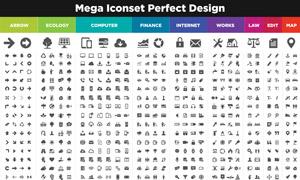 多種用途黑白圖標創意設計矢量素材