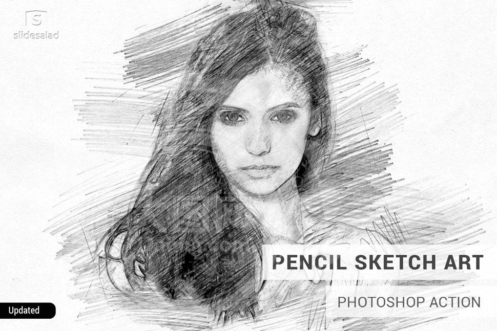 铅笔素描和彩色工笔画效果PS动作
