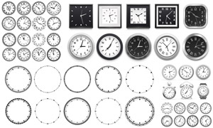 圆形与方形的时钟表盘设计矢量素材