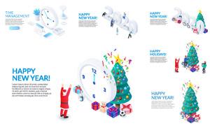 圣誕樹與時鐘等元素網頁焦點圖素材