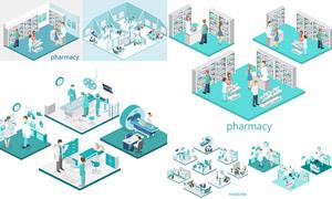 药店与医院场景等距模型创意矢量图