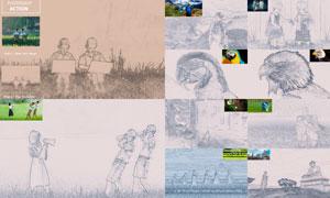 中文版激光刻印画和线描效果PS动作