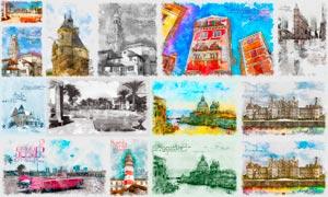 建筑物转手绘草图艺术效果PS动作