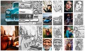 数码照片转黑白素描和手绘效果PS动作