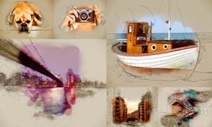 数码照片创意手绘涂鸦效果PS动作