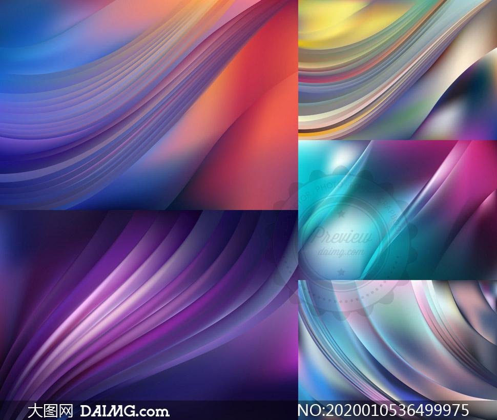 平滑曲线绚丽背景创意设计矢量素材图片
