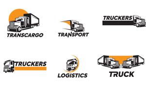 卡車元素物流運輸主題標志矢量素材