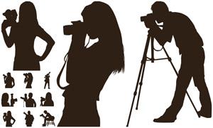 不同姿勢的攝影師人物剪影矢量素材