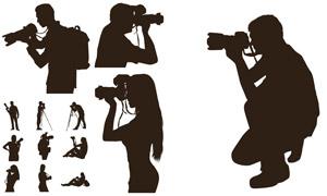 手拿相機的攝影師人物剪影矢量素材