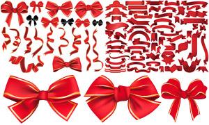 蝴蝶结与红色飘带元素主题矢量素材