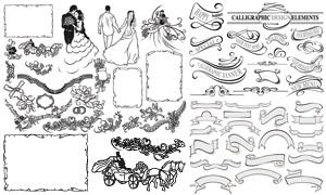 黑白手绘新娘新郎与花纹等矢量素材