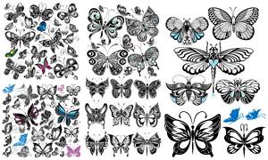 多样式的蝴蝶纹身图案主题矢量素材