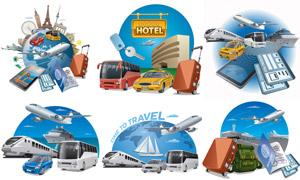 飞机货车出租车等旅游主题矢量素材