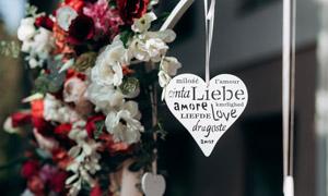 鲜花装饰与心形标签等摄影高清图片