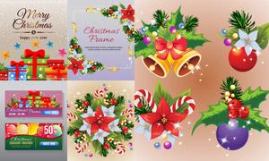 鲜花铃铛与蝴蝶结圣诞礼物矢量素材