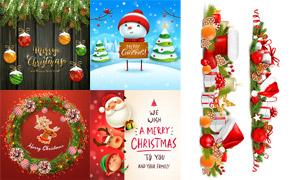 树枝雪人与圣诞挂球等创意矢量素材