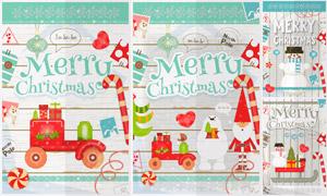 雪人等圣诞节元素插画创意矢量素材