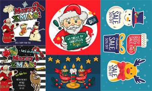 圣诞老人与小鹿雪人等插画矢量素材