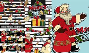 雪人与圣诞老人等圣诞贴纸矢量素材