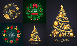 圣诞树与圣诞花环创意设计矢量素材