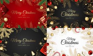 质感圣诞圣诞元素背景边框矢量素材