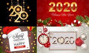 圣诞球圣诞帽与时钟等创意矢量素材