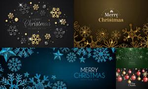 质感效果雪花与圣诞球创意矢量素材