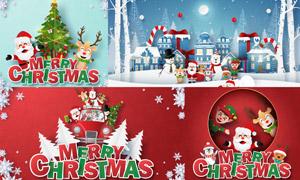 卡通圣诞老人与驯鹿等圣诞矢量素材