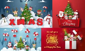 圣诞老人与企鹅雪人等创意矢量素材