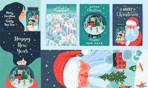 圣诞老人与长发女孩等插画矢量素材